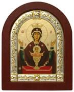 Неупиваемая чаша Божья Матерь, икона шелкография, деревянный оклад, серебряная рамка