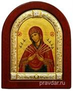 Семистрельная Божья Матерь, икона шелкография, деревянный оклад, серебряная рамка