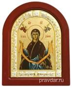 Покров Пресвятой Богородицы, икона шелкография, деревянный оклад, серебряная рамка