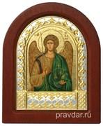 Михаил Архангел, икона шелкография, деревянный оклад, серебряная рамка