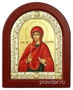 Валенитина Святая, икона шелкография, деревянный оклад, серебряная рамка