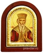 Владимир Святой князь, икона шелкография, деревянный оклад, серебряная рамка