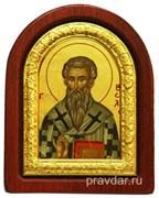 Василий Великий, икона шелкография, деревянный оклад, серебряная рамка