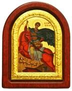 Дмитрий Солунский, икона шелкография, деревянный оклад, серебряная рамка