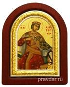 Екатерина Святая Великомученица, икона шелкография, деревянный оклад, серебряная рамка