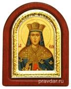 Елена Святая равноапостольная, икона шелкография, деревянный оклад, серебряная рамка