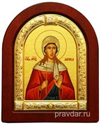 Лариса Святая мученица, икона шелкография, деревянный оклад, серебряная рамка