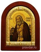 Серафим Саровский, икона шелкография, деревянный оклад, серебряная рамка