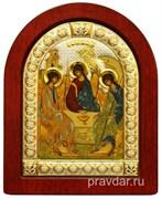 Святая Троица, икона шелкография, деревянный оклад, серебряная рамка