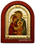 Святое Семейство, икона шелкография, деревянный оклад, серебряная рамка