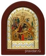 Рождество Христово, икона шелкография, деревянный оклад, серебряная рамка