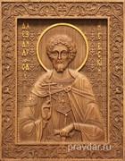 Александр Невский, резная икона на дубовой цельноламельной доске