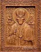 Николай Чудотворец, резная икона на дубовой цельноламельной доске