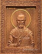 Николай Чдотворец, резная икона на дубовой цельноламельной доске