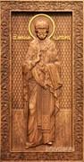 Николай Чудотворец, резная икона на дубовой цельноламельной доске (ростовая)