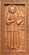 Матрона Московская, резная икона на дубовой цельноламельной доске (ростовая)