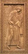 Михаил Архангел, резная икона на дубовой цельноламельной доске (ростовая)