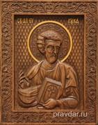 Лука Апостол Евангелист, резная икона на дубовой цельноламельной доске