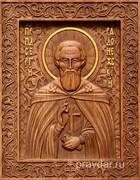 Сергий Радонежский, резная икона на дубовой цельноламельной доске