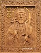 Игорь Святой князь, резная икона на дубовой цельноламельной доске