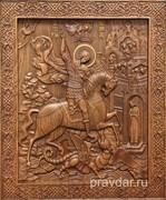 Георгий Победоносец, резная икона на дубовой цельноламельной доске