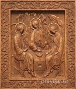 Святая Троица, резная икона на дубовой цельноламельной доске