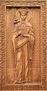 Елена Святая, резная икона на дубовой цельноламельной доске (ростовая)