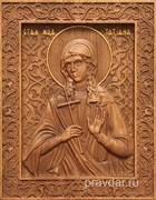 Татиана Святая мученица, резная икона на дубовой цельноламельной доске