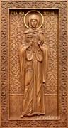 Татиана Святая мученица, резная икона на дубовой цельноламельной доске (ростовая)