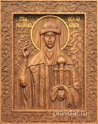 Ольга Святая равноапостольная княгиня, резная икона на дубовой цельноламельной доске