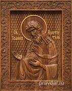 Иоанн Креститель, резная икона на дубовой цельноламельной доске
