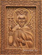 Константин Равноапостольный, резная икона на дубовой цельноламельной доске