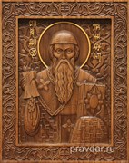 Спиридон Тримифунтский, резная икона на дубовой цельноламельной доске