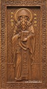 Спиридон Тримифунтский, резная икона на дубовой цельноламельной доске (ростовая)