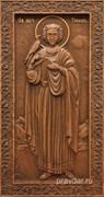 Трифон Святой, резная икона на дубовой цельноламельной доске (ростовая)