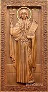 Фотиния (Светлана) Святая, резная икона на дубовой цельноламельной доске (ростовая)