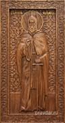Илья Муромец, резная икона на дубовой цельноламельной доске (ростовая)