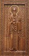 Симеон Святой, резная икона на дубовой цельноламельной доске (ростовая)