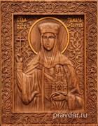 Тамара Святая царица, резная икона на дубовой цельноламельной доске