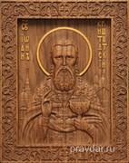 Иоанн Кронштадтский, резная икона на дубовой цельноламельной доске