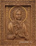 Любовь Святая Блаженная, резная икона на дубовой цельноламельной доске