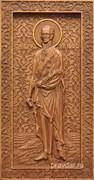 Федор Ушаков, резная икона на дубовой цельноламельной доске (ростовая)