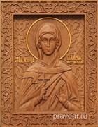 Иулиания Россонская, резная икона на дубовой цельноламельной доске