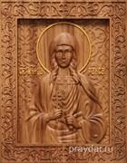 Раиса Александрийская, резная икона на дубовой цельноламельной доске