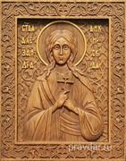 Александра Анкирская (Коринфская), резная икона на дубовой цельноламельной доске