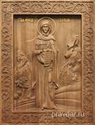Фекла Святая мученица, резная икона на дубовой цельноламельной доске