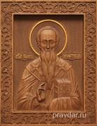Иоанн Милостивый, резная икона на дубовой цельноламельной доске