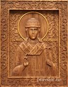 Никита Новгородский, резная икона на дубовой цельноламельной доске