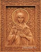 Эмилия Каппадокийская, резная икона на дубовой цельноламельной доске