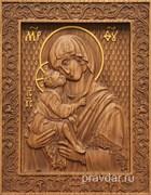 Донская Божия Матерь, резная икона на дубовой цельноламельной доске
